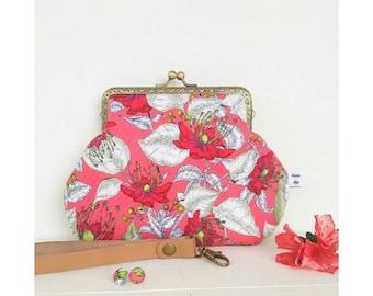 Handmade handbag with azaleas-vintage-style floral clutch bag-vintage wristwatch-purse passport-Lulu Pursemoi