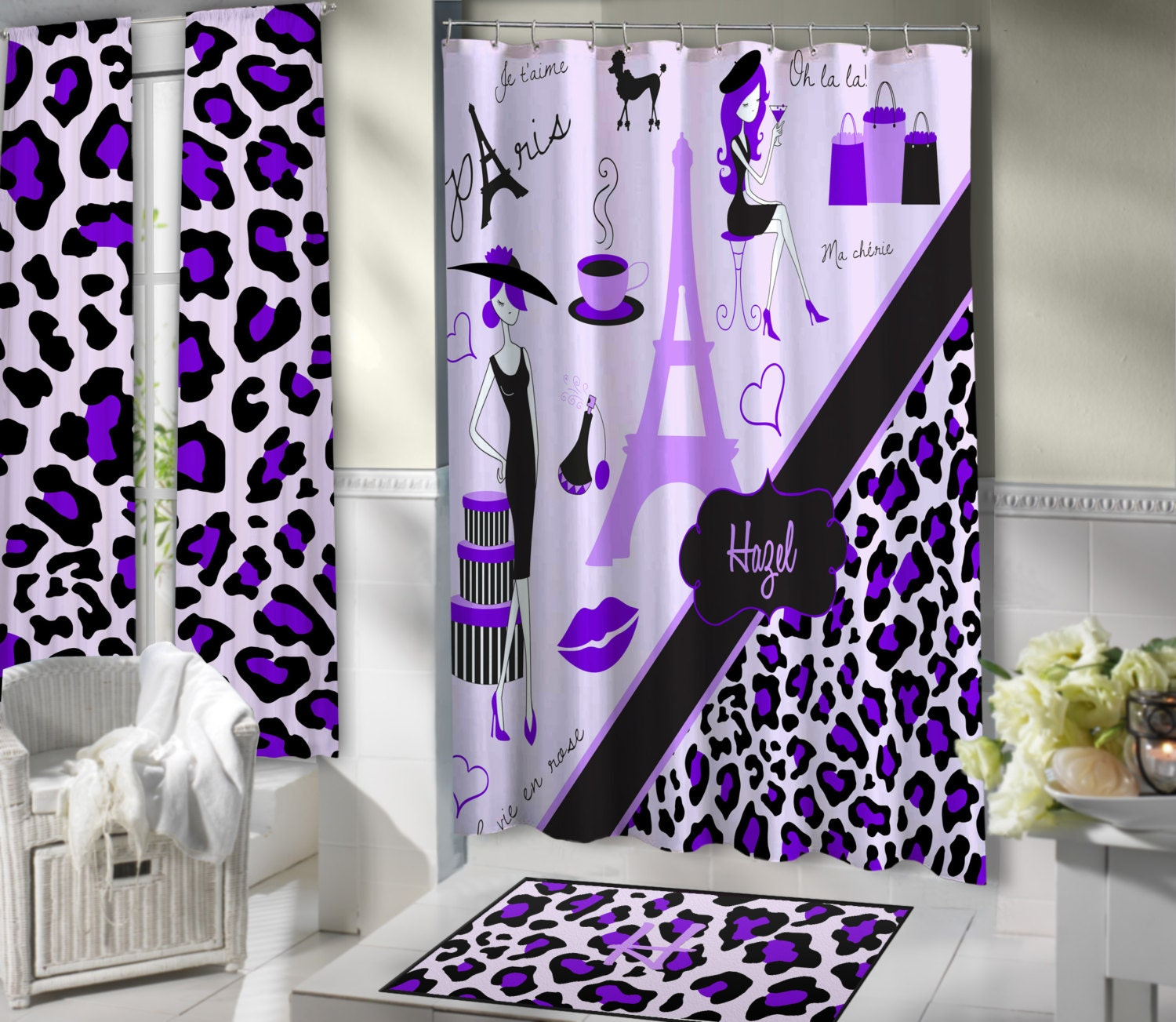 Lavender Paris Shower Curtains Paris Themed Bathroom Sets