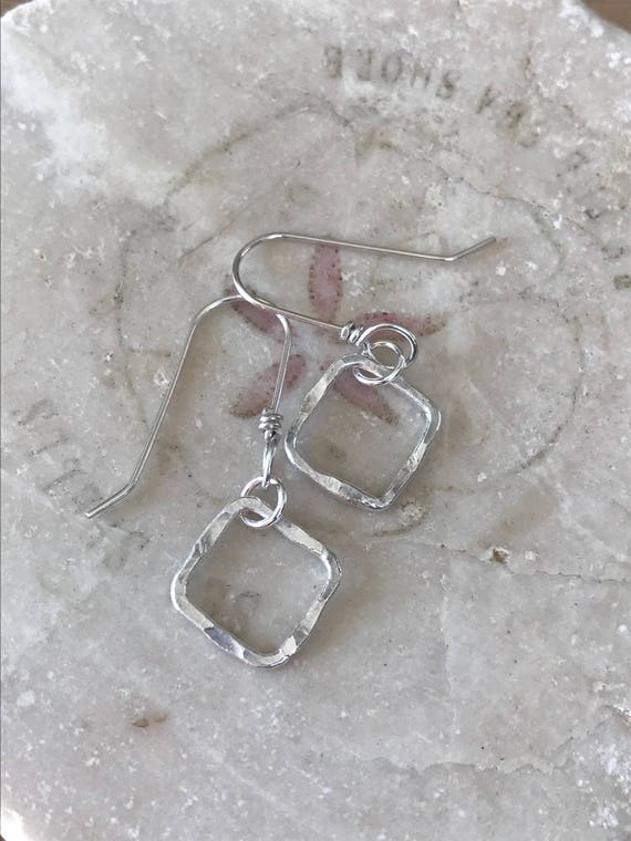 Simple silver earrings, Fine silver, fused, hammered,   square earrings, small diamond, Sterling ear wires