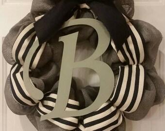 Gray burlap wreath with monogram