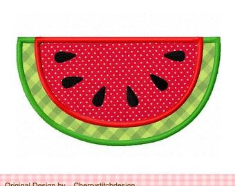 "Watermelon Summer Machine Embroidery Applique Design - 4x4 5x5 6x6"""