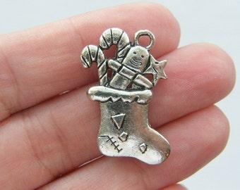 BULK 20 Stocking pendants antique silver tone CT51