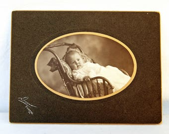 Antique Sepia Photograph of Baby in a Carriage Eugene Oregon Black White Family Photo Vintage Wall Decor
