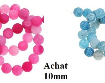 10 eight beads, jewelry beads, 10 mm, blue turquoise, fuchsia