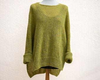 Green Ponchopullover, merino wool/mohair, oversized