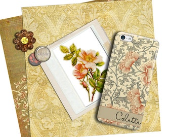 Burnt orange Iphone 7 Plus case, Antique asian floral print in peach and gray, Monogrammed gifts for her, Mother's Day gift  (1758)