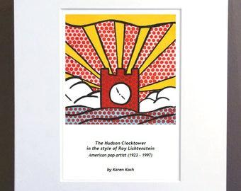 Hudson Ohio Clocktower, Roy Lichtenstein Style, Pop Art, 10x8 inches, Art Print, Matted, by Hudson Ohio Artist Karen Koch