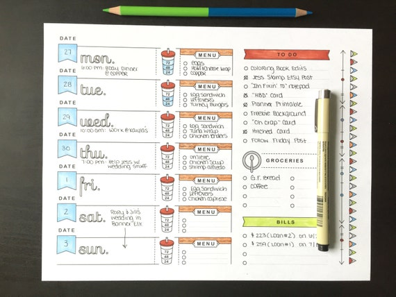 85x11 Printable Planner Page Weekly Calendar Template