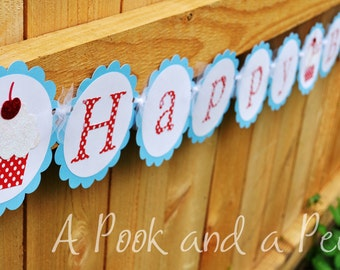 Red White and light blue Classic Cupcake Happy Birthday Banner Shower Decoration