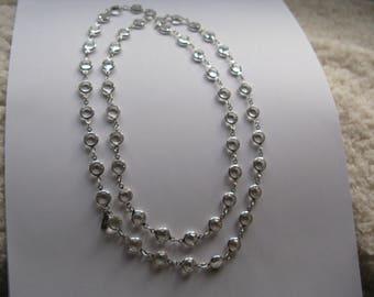 """Vintage Signed Swarovski 36"""" Silver Plate Crystal Bezel Necklace"""