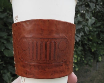 Jeep LEATHER Coffee Sleeve, Leather Cup Cozie, Coffee Cozie, Leather sleeve, to go coffee sleeve, OOAK