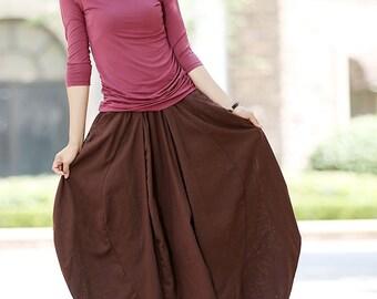 bubble skirt, linen skirt, brown linen skirt, midi skirt, linen summer skirt, womens skirts, elastic waist skirt, natural linen skirt 1026