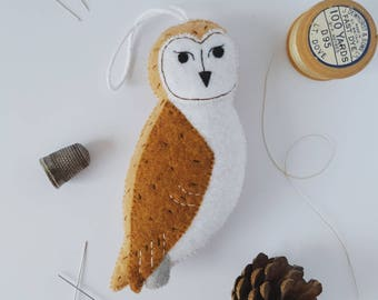 Barn owl hanging decoration - felt bird bauble - handmade owl decor - eco tree decoration