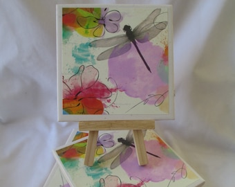 Dragonfly Ceramic Tile Coasters Set of 4, handmade, Drink Coasters, hostess gift, barware, Home Decor, DragonFlies, Coasters, mothers day