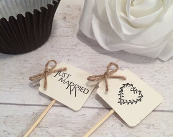 Handmade Just Married & Mr and Mrs Cupcake Flags