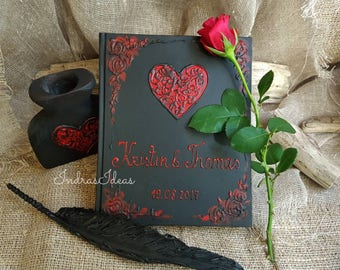 Black Red Wedding Guest book,  Black Guest book, Personalized Guest book, names & date, Halloween Guest Book, Goth Wedding,