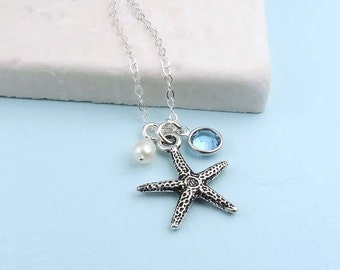 Starfish Birthstone Necklace, crystal birthstone, silver starfish, birthstone necklace, beach wedding