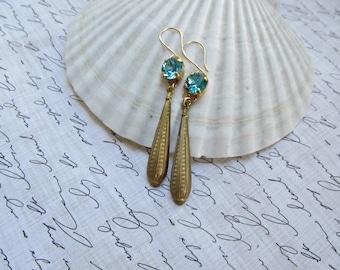 Light Turquoise Swarovski Crystal and Brass Teardrop earrings