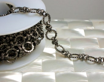 1 Foot Textured Closed Link Flat Round Link Chain GOTH Antique Silver Nickel Free Chain Brass Jewelry Jewellery Craft Supplies