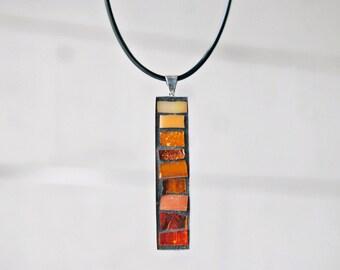 Pendant Necklace, Mosaic Pendant, Orange Jewelry, Unique Gifts for Women