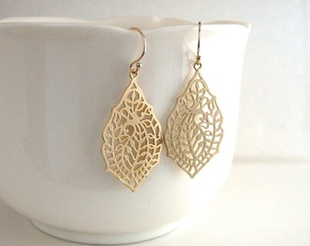 Gold Filigree Leaf Earrings, Detailed Leaf Earrings, Gold Teardrop Earrings, Gold Cutout Earrings - 14k Gold Filled Ear Wires