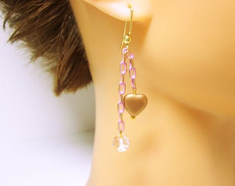 JEWELRY EARRINGS Long Heart Earrings Long Pink Chain Dangles Copper Hearts And Clear Facet Beads On Pink Brass Chain