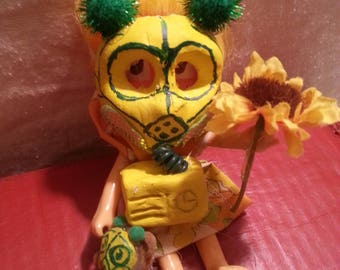 """1 of 4 """"Gas Mask Girls"""" Doll series from Surreale ART. Comes with FREE matching mini bear. Comes in a Jar. OOAK"""