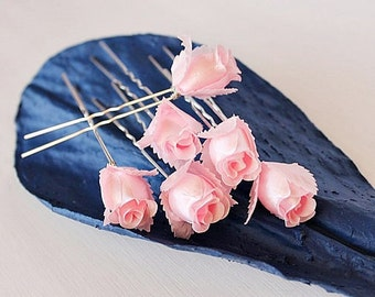 Rose Buds Hair Pins, Pink Bridal Clips, Silk Rose Hair Pins, Small Wedding Clips, Silk Bridal Clips, Pink Rose Clips, Pink Bridal Bobby Pins
