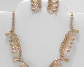 Gorgeous Scalloped Rhinestone Choker Necklace Demi Parure (2031) Clip Earrings