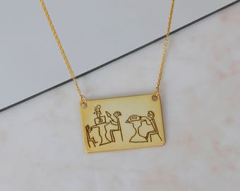 Personalized Actual Kid's Drawing Bar Necklace, Children's Drawing, Bar Necklace, Kid's Art Necklace,Silver Necklace,Gold,Rose,Gift