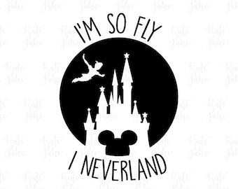 I'm so fly I neverland SVG Cut File Digital file Disney Svg Dxf Peter Pan SVG outlined for Silhouette Cricut