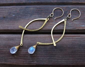 Swoops - Brass and Moonstone Metalwork Earrings - Semi-precious stones - Long Lightweight Earrings - Rustic Earrings