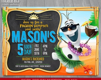 Frozen Summer Invitation - Olaf Invitation - Disney Frozen Olaf Party Printed and Printable Invites - Olaf summer pool party (FZIN07)