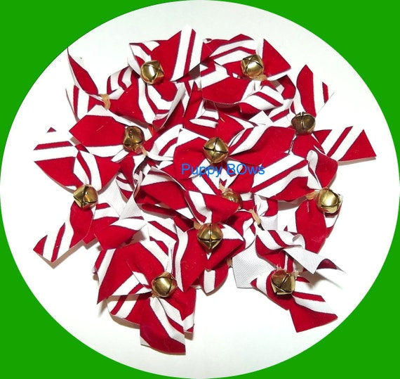 Puppy Bows ~ CHRISTMAS velvet candy cane stripe jingle bells dog bow  (fb51)