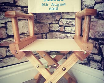 Directors chair, 1st birthday gift, table and chairs, new baby gift personalised, personalised gift, christening gift, girl gift, boy gift