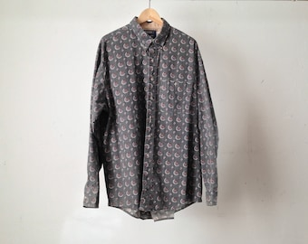 VERSACE style men's PAISLEY style ABSTRACT 90s long sleeve button up shirt pastel olive green vintage button up down shirt