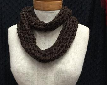 Chocolate Brown glitter handmade crochet infinity scarf