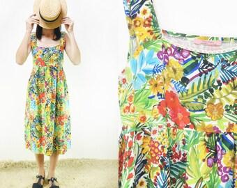 Limited Edition Flowers print vintage pure linen Summer Dress [Meryl dress/linen  multi flowers]