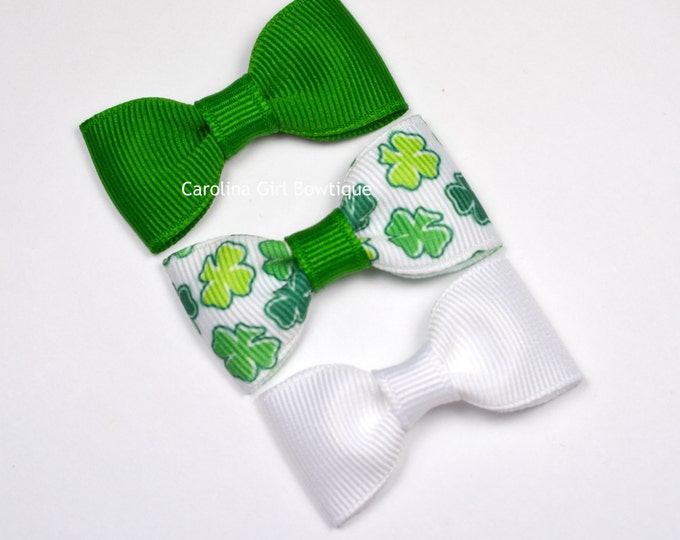 Baby Hair Bows ~ St Patricks Day Set ~ 2 in. Bows with No Slip Grip ~ Small Hair Bows Newborns Toddler Girls