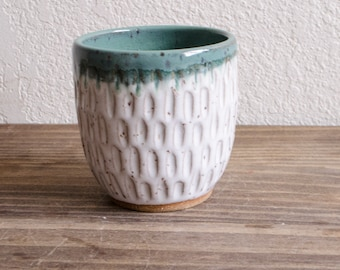 Green and White Carved Ceramic Tumbler