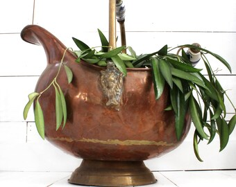 Large Copper and Brass Scuttle / Cauldron w/ Delft Handles - Vintage Rustic Farmhouse Planter