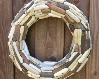 "20"" Driftwood Wreath - Northern California Drift wood - Coastal Decor - Beach Art - Twig Wreath"