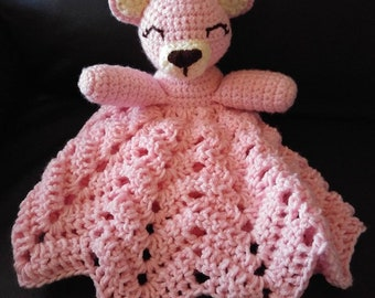 Crochet bear snuggle blanket