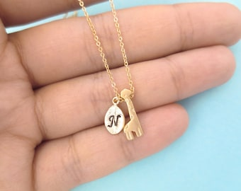 Personalized, Letter, Initial, Gold, Silver, Giraffe, Animal, Necklace, Cute, Birthday, Friendship, Mom, Sister, Gift, Jewelry