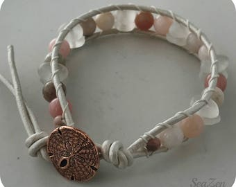 Sea Glass, Clear, Peruvian Pink Opal, Copper Button, Leather Cord Wrap Bracelet