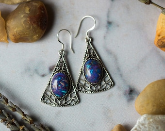 Purple Mountain Earrings - Turquoise Triangle Jewelry - Bohemian, Unique, Wild at Heart, Silver Dangles, Yugen Tribe Nature Inspired Jewelry