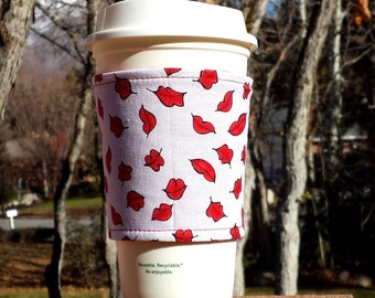 FREE SHIPPING UPGRADE with minimum -  Fabric coffee cozy / cup sleeve / coffee sleeve  - Kiss My Luscious Lips