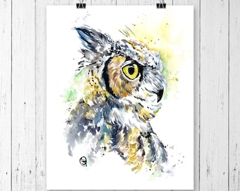 GREAT HORNED OWL print of Original watercolour painting by Lisa Whitehouse, Gift for bird lovers. Bird watching, Cottage art, Wildlife Art