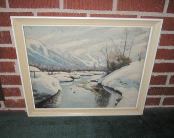 Vintage 1940s/50s Beautiful Original Framed Winter Landscape Oil Painting for Repair