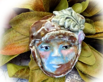 pendant bead -Ceramic Pendant -  Focal Bead - pottery bead -clay beads -necklace bead -  OOAK bead - people bead -   # 66